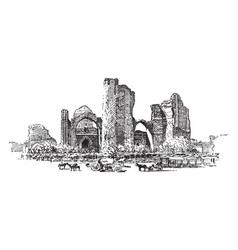 Ruins of the mosque at samarkand vintage vector