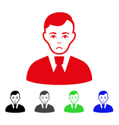 Sad clerk guy icon vector