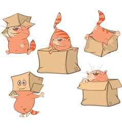 Set Cartoon Cute Cats for you Design vector image
