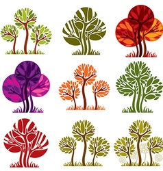 Set of stylized trees with green and purple leaves vector image vector image