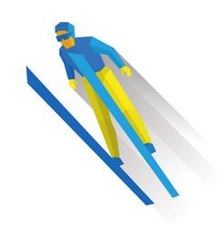 Ski jumping cartoon skier during a jump vector