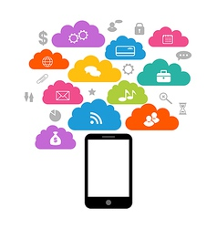 Smart device with cloud of application icons vector image