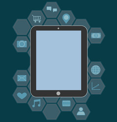 Tablet pc with applications vector image