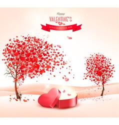Valentines day background with an heart shaped vector image vector image