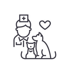 veterinarian with dog and cat linear icon sign vector image