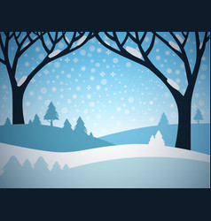 winter landscape cartoon field covered with snow vector image