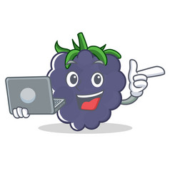 With laptop blackberry character cartoon style vector