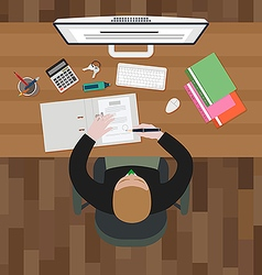 Working on computer vector image vector image
