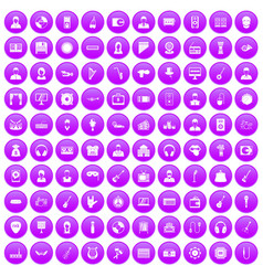 100 music icons set purple vector image vector image