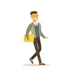 Businessman Walking Fith Folder Business Office vector image