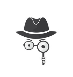 Man in hat spectacles and a magnifying glass vector