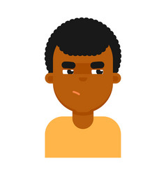Insidious facial expression of black boy avatar vector