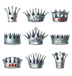 Cartoon silver royal crowns set vector
