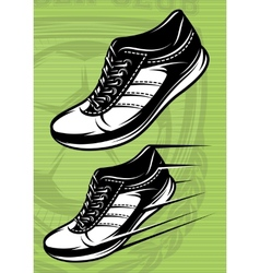 With a set of running shoes on vector