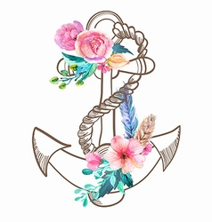 Doodle anchor with watercolor flowers and feather vector