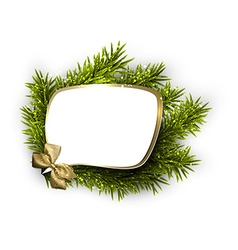 Paper speech bubble over spruce twigs vector image