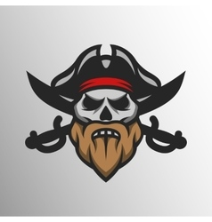 Captain pirate skull and crossed sabers vector