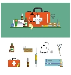 Health care medical flat banners first aid icons vector