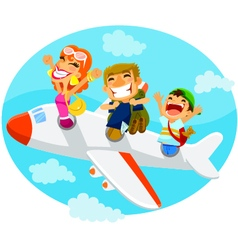 People in an airplane vector