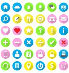 colorfu web icon flat style on circle vector image