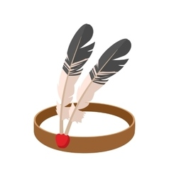 American indian headdress cartoon icon vector