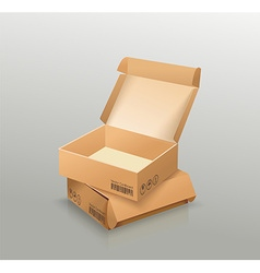 Opened and closed empty cardboard box recycle vector