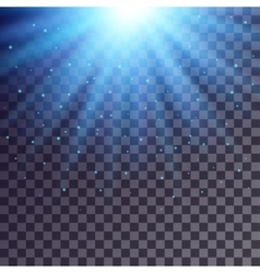 Blue rays from top with shiny particles vector