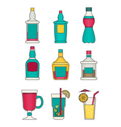 alcohol flat icons set vector image vector image