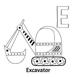 Alphabet letter e coloring page excavator vector
