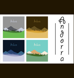 assembly of flat icons on theme of andorra vector image