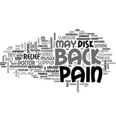 back pain relief text word cloud concept vector image vector image