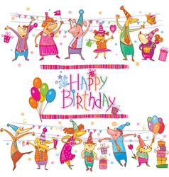 Birthday cartoon set vector image