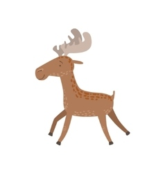 Brown Spotted Moose Running vector image