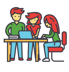 Business office team meeting man and women vector
