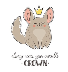Cartoon chinchilla with crown vector