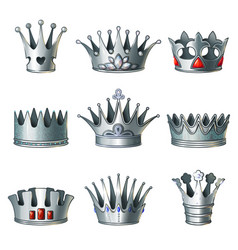 Cartoon silver royal crowns set vector