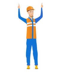 Caucasian builder standing with raised arms up vector