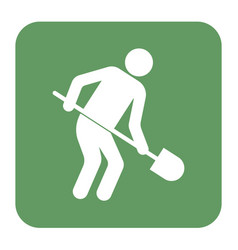 Digger with shovel icon vector