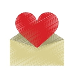 Drawing valentines day romantic mail heart vector