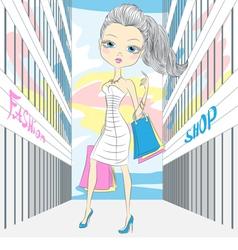fashion girl shopping vector image