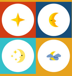 Flat icon bedtime set of nighttime midnight moon vector