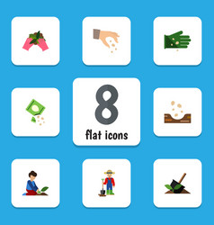 Flat icon seed set of seed packet man and other vector