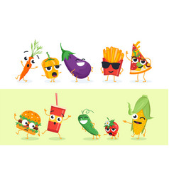 Funny vegetables and fast food - set of vector