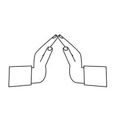 Hands praying symbol vector