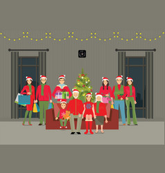 happy big family celebrating christmas at home vector image vector image