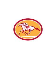 Jockey riding horse racing circle retro vector