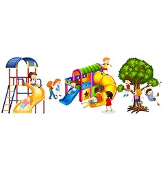 Kids playing on slides vector image vector image