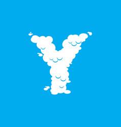 letter y cloud font symbol white alphabet sign on vector image vector image