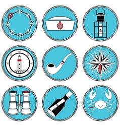 Nautical elements type 4 icons in knottet circle vector image vector image