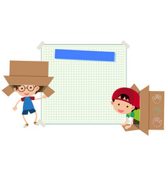 Paper template with two boys in box vector